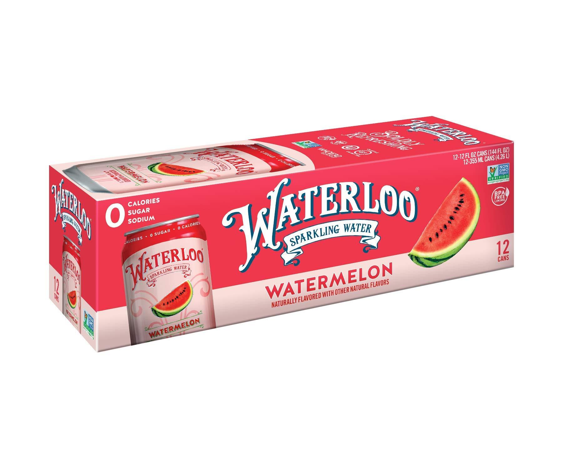 Waterloo Sparkling Water Watermelon Flavor Zero Calorie No Sugar 12oz Cans (Pack of 12), Fruit Flavored Sparkling Water, Naturally Flavored, Zero Calories, Zero Sugar, Zero Sodium