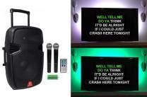 "Rockville 15"" Portable Karaoke Machine/System w/ (2) Wireless Microphones+LED's"
