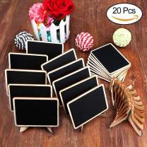 AerWo Mini Chalkboard Signs, 20 Pack Small Chalkboard Labels with Easel Stand, Wooden Blackboard for Table Numbers, Food Signs, Wedding Signs, Message Board, Place Cards and Event Decorations