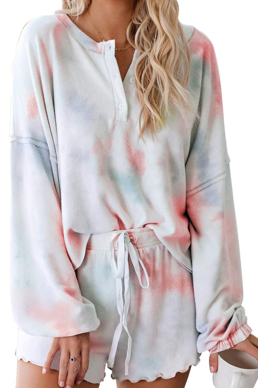 HAPCOPE Women's Tie Dye Printed Ruffle Long Sleeve Short Pajamas Set Sleepwear Nightwear