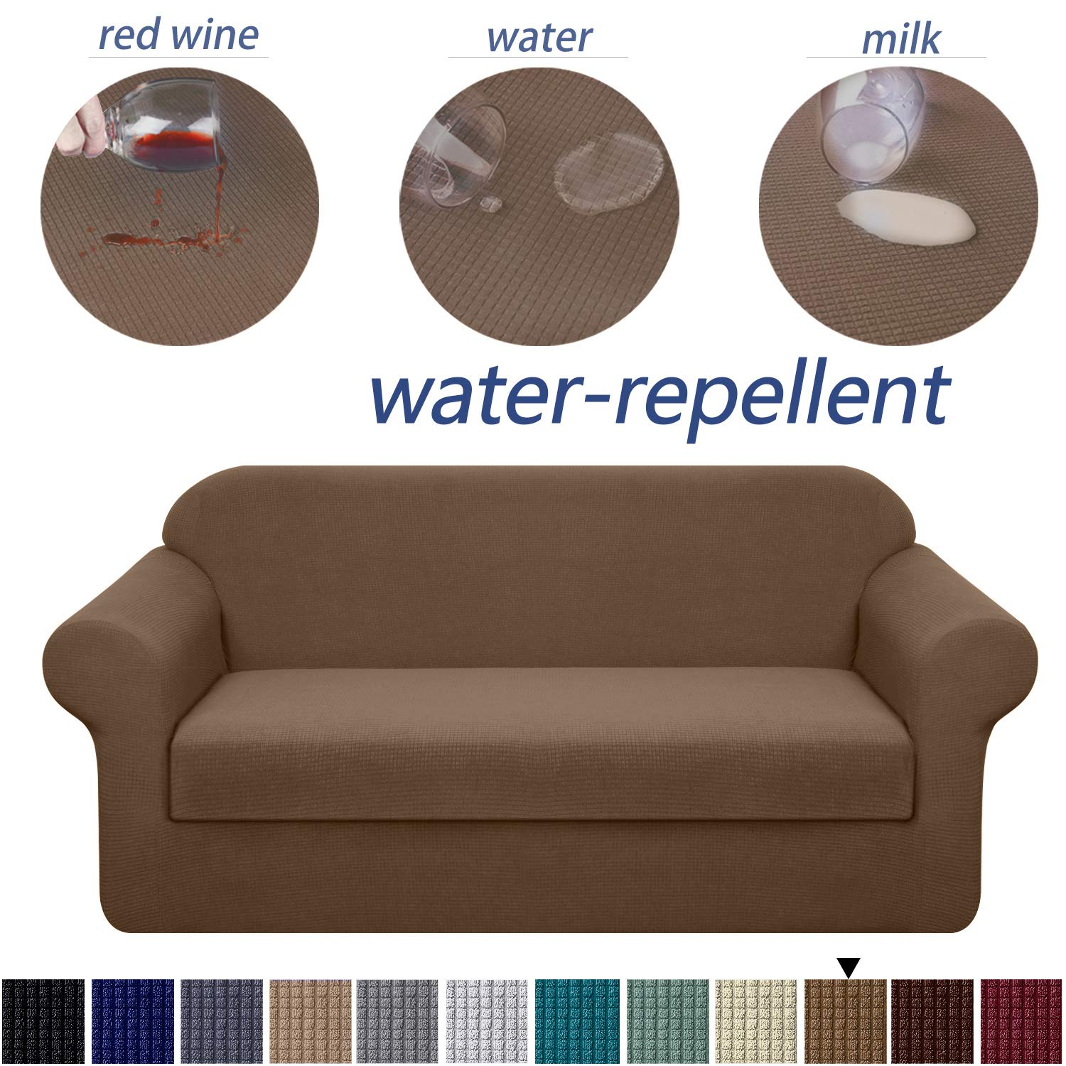 Granbest Stretch Sofa Slipcovers 3 Cushion Couch Covers Water-Repellent Pet Furniture Covers Dog Couch Protectors (Coffee, Medium-2 Pieces)