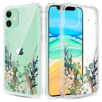 Caka iPhone 11 Case Clear with Design Floral Clear Case Flowers Pattern for Women Girls Girly Slim Soft Flexible TPU Transparent Shockproof Protective Case for iPhone 11 6.1 inches (Blue Green)