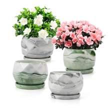 Fasmov 4 Pack Modern Style Ceramic Flower Pot Garden Flower Pots Succulent Cactus Plant Pots, Diamond Pattern