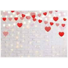Allenjoy Love Sweet Heart Valentine's White Brick Wall Backdrop Photography Glitter Mother's Day Baby Bridal Shower Kid Birthday Party Decor Banner Newborn Photoshoot 7x5ft Background Photo Booth Prop