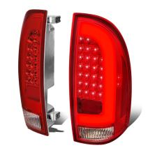 Left+Right Chrome Housing Red Lens 3D LED Bar Tail Lights Lamps Replacement for Toyota Tacoma 05-15
