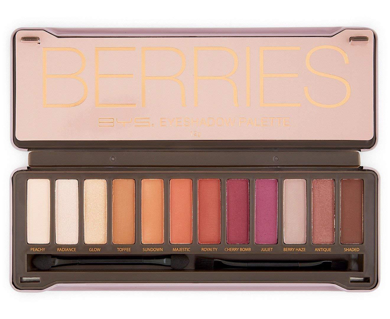 BYS Berries Eyeshadow Palette Tin with Mirror Applicator 12 Matte & Metallic Shades