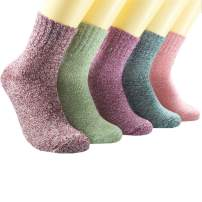 Women Wool Socks Soft Warm Winter Socks Soft Warm Cozy Vintage Knit Socks 5 Pairs