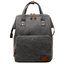 Vintage Canvas Backpack Travel Bookbag Leather Laptop College School Military Rucksack