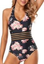 Cillet Womens Sexy V Neck Swimsuits Mesh Halter One Piece Bathing Suits