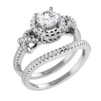 Natural Diamond Ring 1 Carat Wedding Diamond Rings For Women 10K White Gold Diamond Rings I2-I3-HI Quality Real Diamond Rings (Diamond Jewelry Gifts For Women)