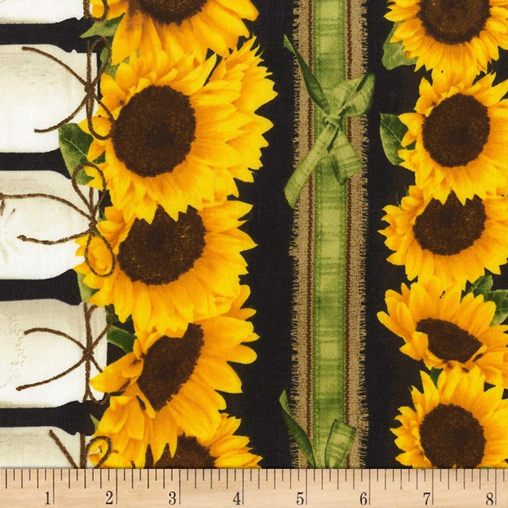 Timeless Treasures Black Farm Sunflower Border Stripe Fabric by The Yard