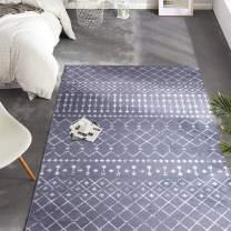 "jinchan Runner Rug Area Rug Soft Carpet Kitchen Bedroom Diamond Polypropylene Low Pile Modern Durable Low Pile Fashionable Indoor Living Room 3'x5'3"" Charcoal Grey"