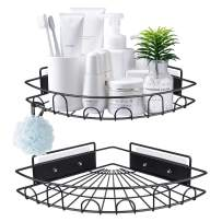 Shower Caddy Corner Shelf Bathroom Shower Rack Storage, Upgraded Wall Mounted Bath Shelves Organizer for Toilet, Dorm and Kitchen, Both Available for Adhesive and Screws, Matt Black