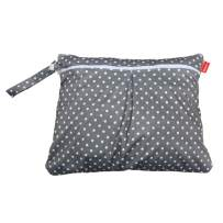 Damero Travel Wet and Dry Bag with Handle for Cloth Diaper, Pumping Parts, Clothes, Swimsuit and More, Easy to Grab and Go (Small, Gray Dots)