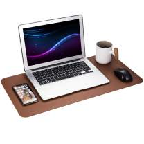 """Gogloo Multifunctional Office Desk Pad, Dual Sided PU Leather Mouse Pad, Thin and Waterproof Desk Blotter Protector, Desk Writing Mat for Office/Home (Brown, 23.6"""" x 12"""")"""