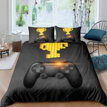 Kids Video Games Duvet Cover,Boys Gamer Print Comforter Cover Gaming Controller Pattern Design,Child Game Room decor Teens Bedding Set with 1 Pillowcase,Black Gold Gamepad Bedspread Cover Twin Size
