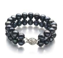 Black 8-9mm Double Strand A Quality Freshwater Sterling Silver Cultured Pearl Bracelet For Women