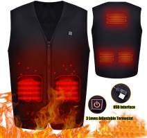 Heated Vest for Men Women Rechargeable USB Electric Vest Jacket Heating Thermal Vest Winter Warm Vest for Skiing Hiking Camping Motorcycle Travel, Battery Not Included