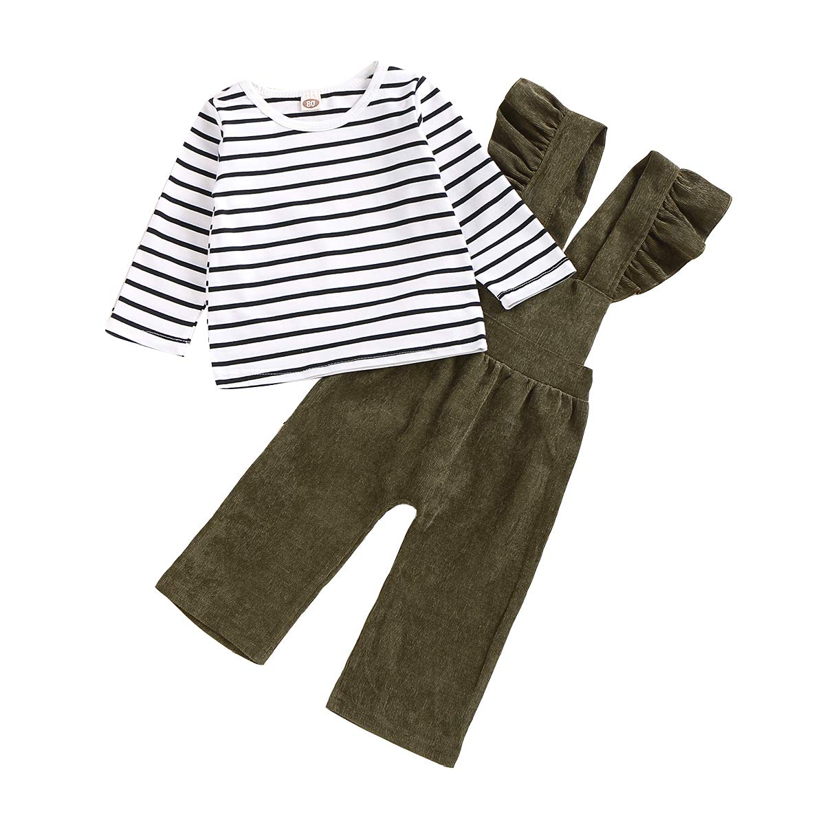 Seyouag Toddler Baby Girl Pants Sets Long Sleeve Stripe Top + Strap Overalls Corduroy Jumpsuit Fall Outfits Winter Clothes