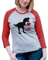 7 ate 9 Apparel Womens Dinosaur Valentine's Day Raglan Shirt