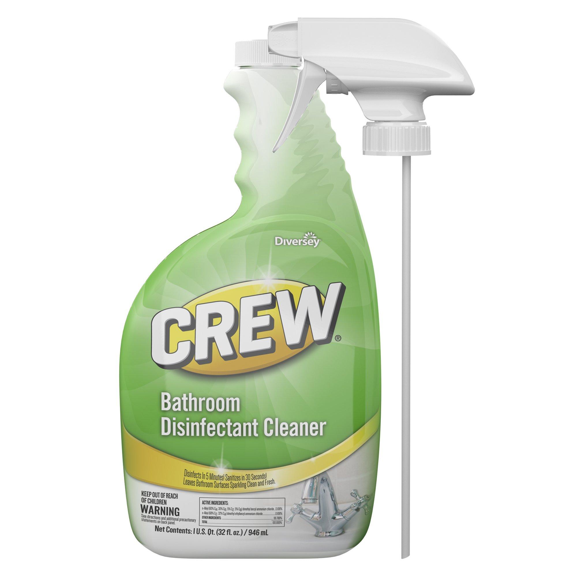 Diversey Crew Bathroom Disinfectant Cleaner - Leaves Bathroom Surfaces Sparkling Clean, Fresh Floral Scent - 32 oz. RTU Bottle (4 Pack)