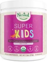 Nested Naturals Super Kids | 100% USDA Organic Vegan Superfood Powder for Kids | 30 Servings of Greens, Veggies, Fruits, Seeds | Natural Fruit Flavor | Non-GMO, Gluten-Free Plant-Based Nutrition