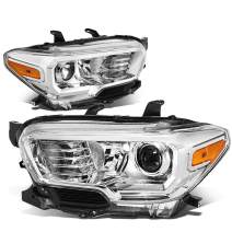 DNA Motoring Chrome amber HL-OH-TTAM16-CH-AM Pair Front Bumper Driving Projector Headlight Replacement