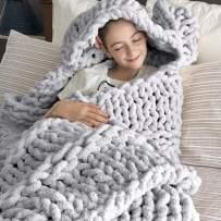 DCZTELG Handmade Chunky Knit Blanket Throw Bulky Knitting Blanket Chenille Blankets Soft Cozy Polyester (D-Gray, 47x59in(120150cm))