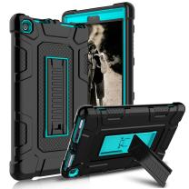 Kindle Fire 8 2018 Case, Kindle Fire 8 2017 Case, Zenic Three Layer Heavy Duty Shockproof Full-body Protective Hybrid Case With Kickstand for Kindle Fire 8 2018 Release/All-New Fire HD 8 (Blue/Black)