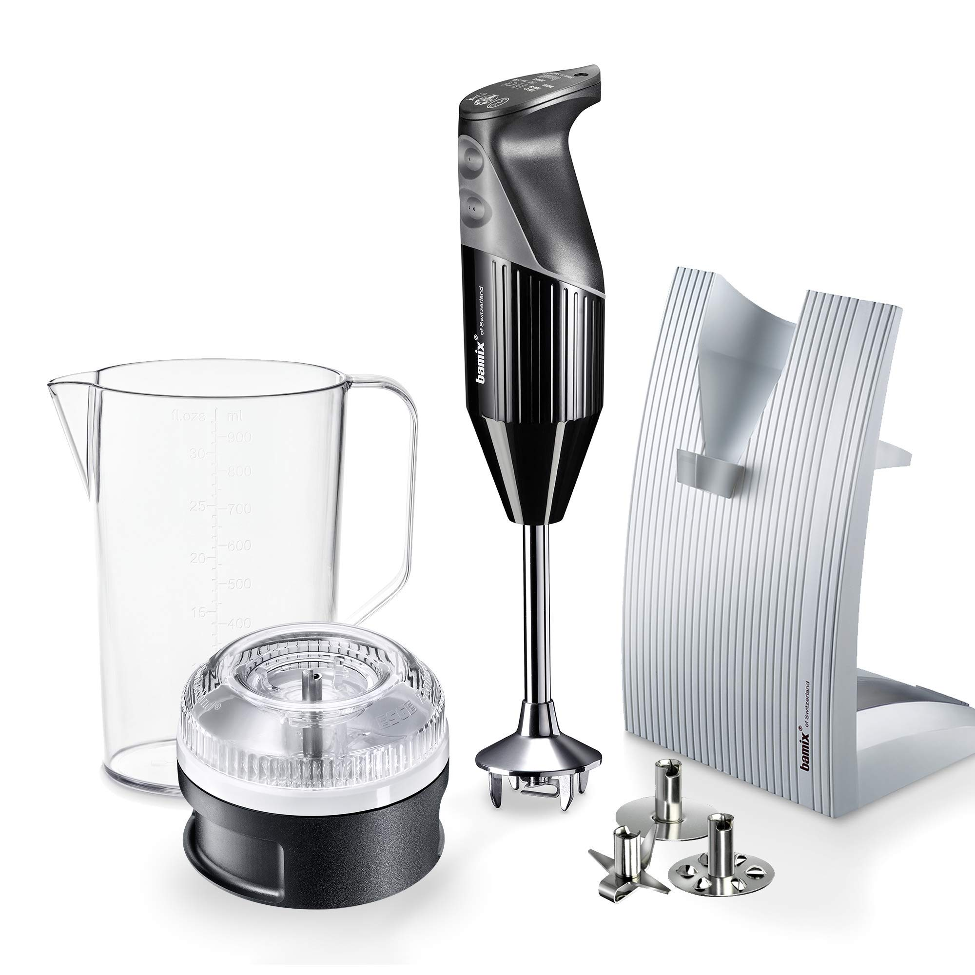 """Bamix – M150 """"SwissLine"""" Immersion Hand Blender – 150W, 120V, 60Hz – The Original Hand Mixer, Blender, and Food Processor All-In-One – Swiss-Made – Includes 3 Stainless Steel Blades – Black"""