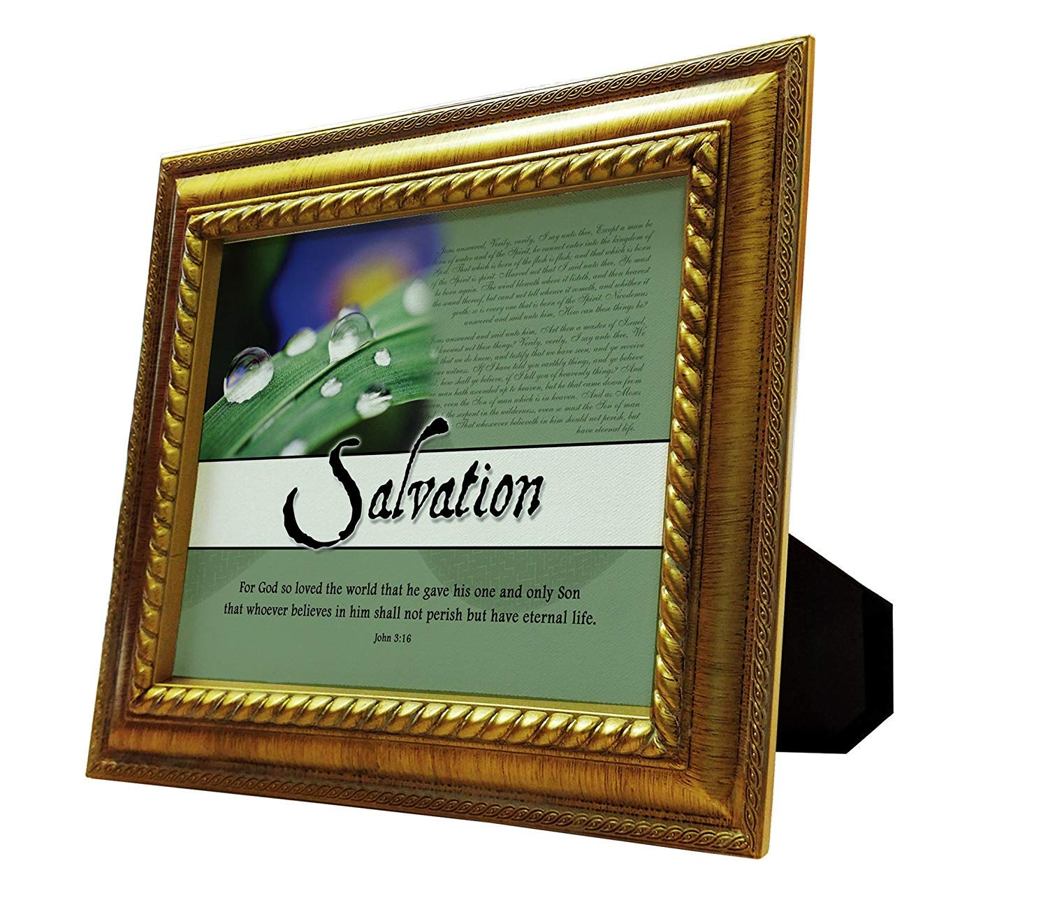 VERSERIES Baptism & Salvation Picture Frame   Canvas Photo Frame Bible Verse Christian Gift and Art   Suitable for Display Desk, Home, Office, Lounge, Tabletop Decor (Rustic Gold Frame, Set of 1)