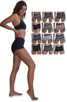 Sexy Basics Women's 12 Pack Modern Active Buttery Soft Boy Short Boxer Brief Panties
