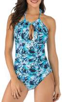 fitglam Women's One-Piece Swimsuits, Sexy Halter Ruched Tummy Control Swimwear, Moderate Plunge Monokini Bathing Suits