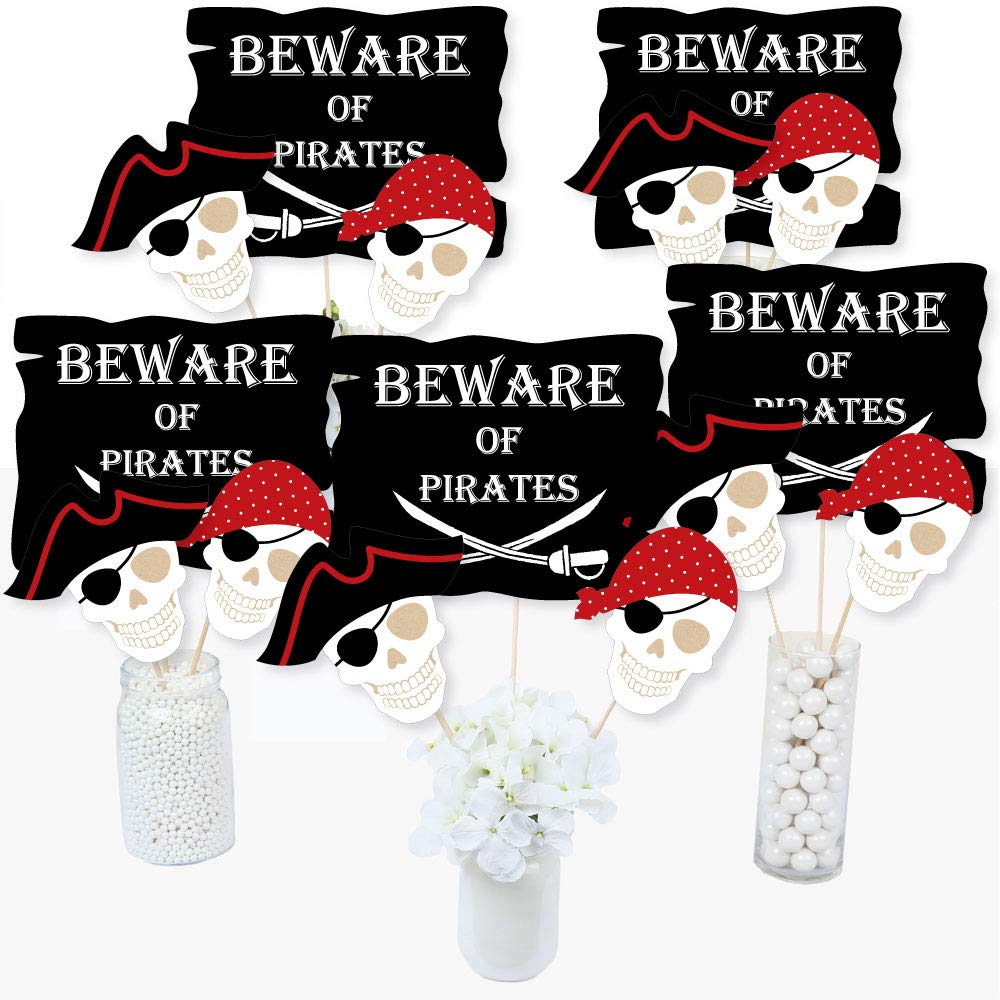 Beware of Pirates - Pirate Birthday Party Centerpiece Sticks - Table Toppers - Set of 15