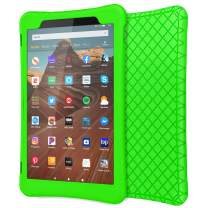 """MoKo Case for All-New Fire HD 10 Tablet (7th Generation/9th Generation, 2017/2019 Release), Shockproof Soft Silicone Back Cover [Kids Friendly] for Fire HD 10.1"""", Green"""