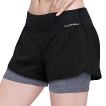 VUTRU Women's Running Workout Shorts with Liner 2 in 1 Athletic Sport Shorts Black