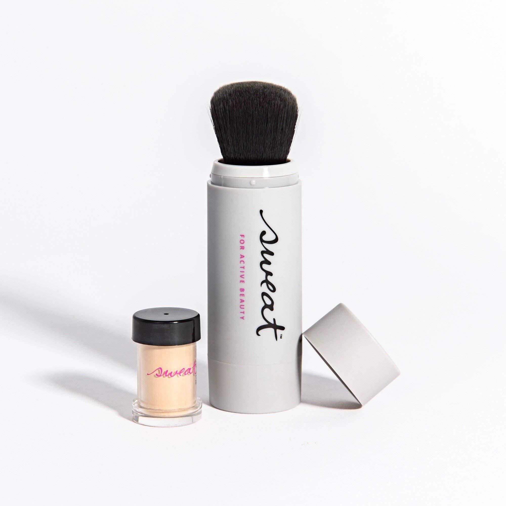 Sweat Cosmetics Foundation Twist Brush. Water + Sweat Resistant Vegan Mineral Foundation Powder and Brush (100: Light)