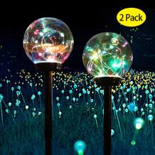 Solar Lights Outdoor,Solar LED Colour Changing Globe Powered Garden Light Waterproof for Yard Patio Walkway Landscape (2 Pack)