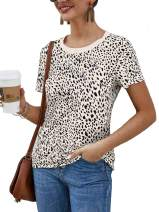 AMUZZII Womens Leopard Print Tops Cute Short Sleeve Casual T Shirts Tees Soft Blouse