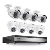 ZOSI 1080p 16 Channel 8 Camera Security System, 16 Channel DVR Recorder and (8) 2MP 1080p Surveillance Bullet  Dome Cameras Outdoor/Indoor with Night Vision, Motion Detection (No Hard Drive)