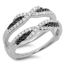 0.50 Carat (ctw) 14K Gold Black & White Diamond Ladies Swirl Wedding Enhancer Guard Double Band 1/2 CT