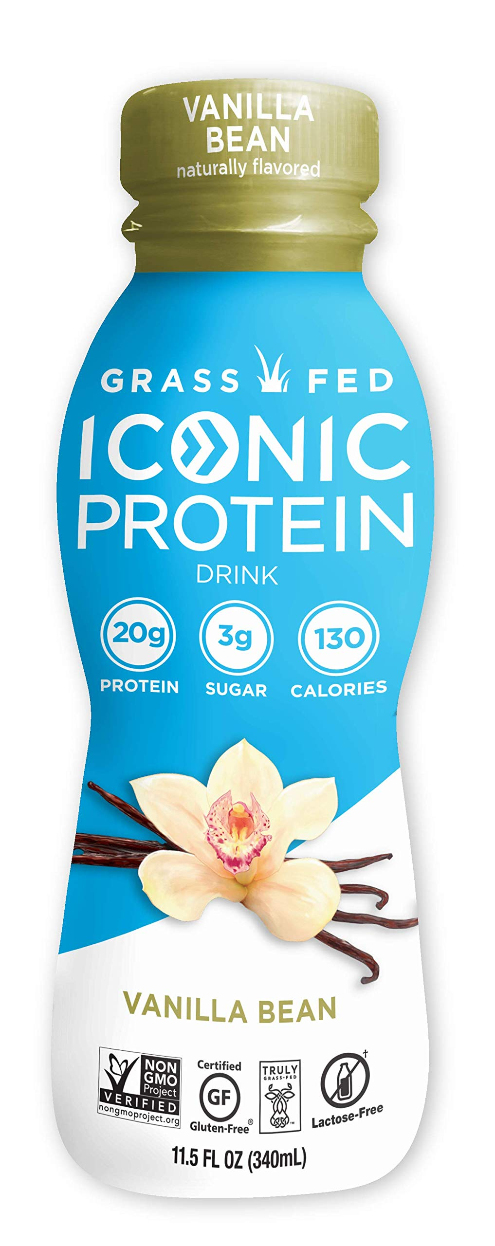 Iconic Low Carb High Protein Drinks, Vanilla Bean, 11.5oz, 12 pack