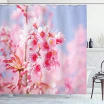 """Ambesonne Floral Shower Curtain, Sakura Blossom Branches Flower Essence Fragrance Nature Inspired Picture, Cloth Fabric Bathroom Decor Set with Hooks, 84"""" Long Extra, Pink Purplegrey"""