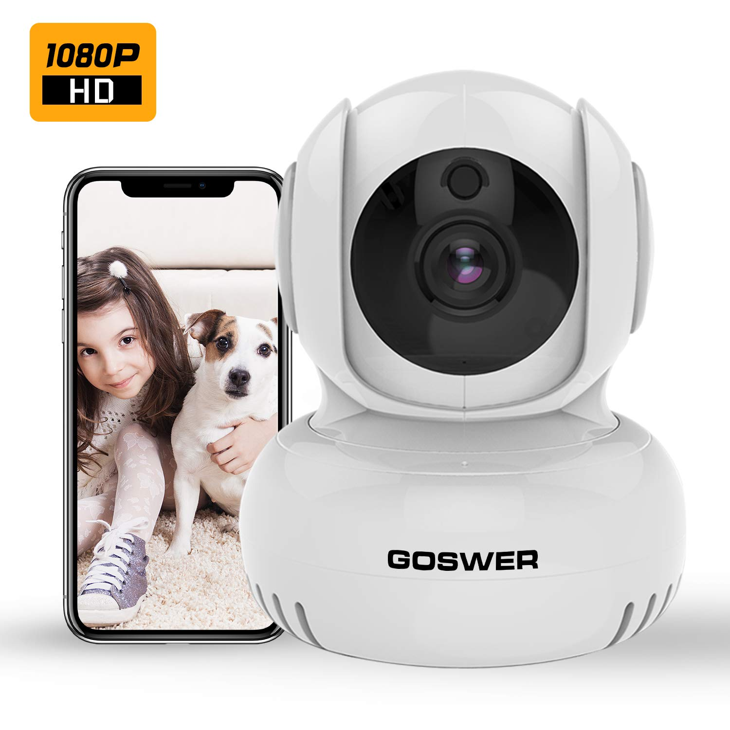 Baby Monitor,GOSWER 2.4G WiFi Camera Indoor Pan/Tilt/Zoom Security Wireless IP Camera 1080P Home Surveillance with Motion Detection, IR Night Vision, Two-Way Audio,Temp Alarm,Alexa,Cloud Service