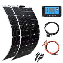 XINPUGUANG Solar Panel 100W 12V Monocrystalline Flexible 200W System Kit Hightweight Solar Battery Charger with PV Connector for RV Boat Cabin Tent Car Trailer(200W-1)