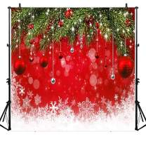 Allenjoy 8x8ft Fabric Snowflake Christmas Backdrop for Winter New Year Photography Family Party Birthday Supplies Glitter Bokeh Sparkle Red Merry Background Baby Shower Decorations Photo Booth Props