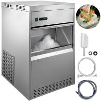 VBENLEM 154LBS 24H Snowflake Ice Maker Commercial Ice Machine Countertop Stainless Steel Ice Maker Machine Freestand Ice Crusher Suit for Seafood Restaurant Bar Coffee Shop Home Use