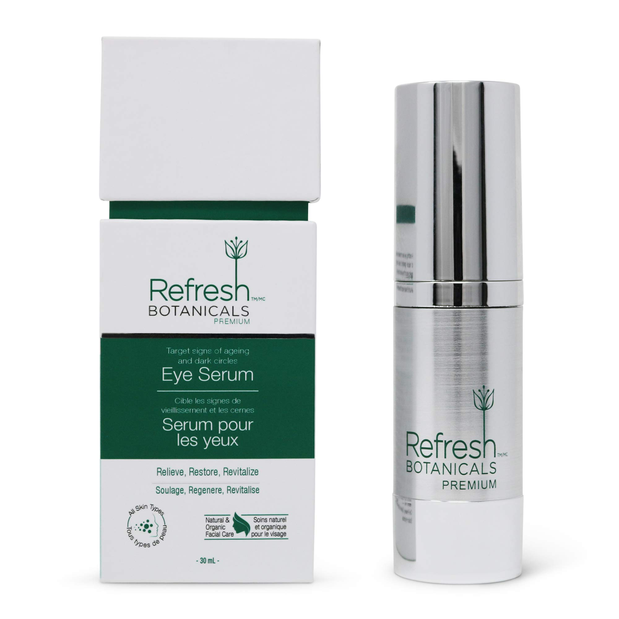 Refresh Botanicals Vitamin C Eye Serum with Hyaluronic Acid Sodium Hyaluronate, Anti Aging, Natural and Organic with Vitamin A   Effective Against Wrinkles, Puffy Eyes, and Dark Circles, 1 Fl Oz