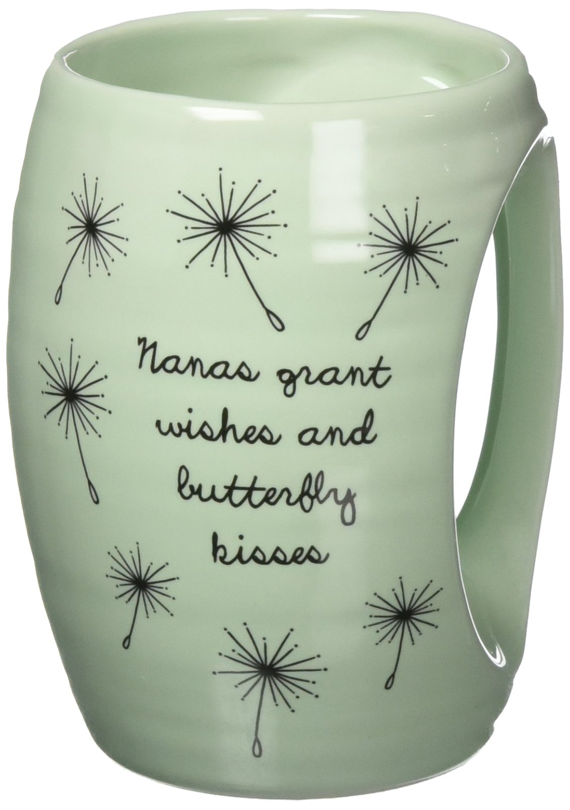 H2Z tableware Nanas Grant Wishes and Butterfly Kisses Ceramic Hand Warmer Mug, Green