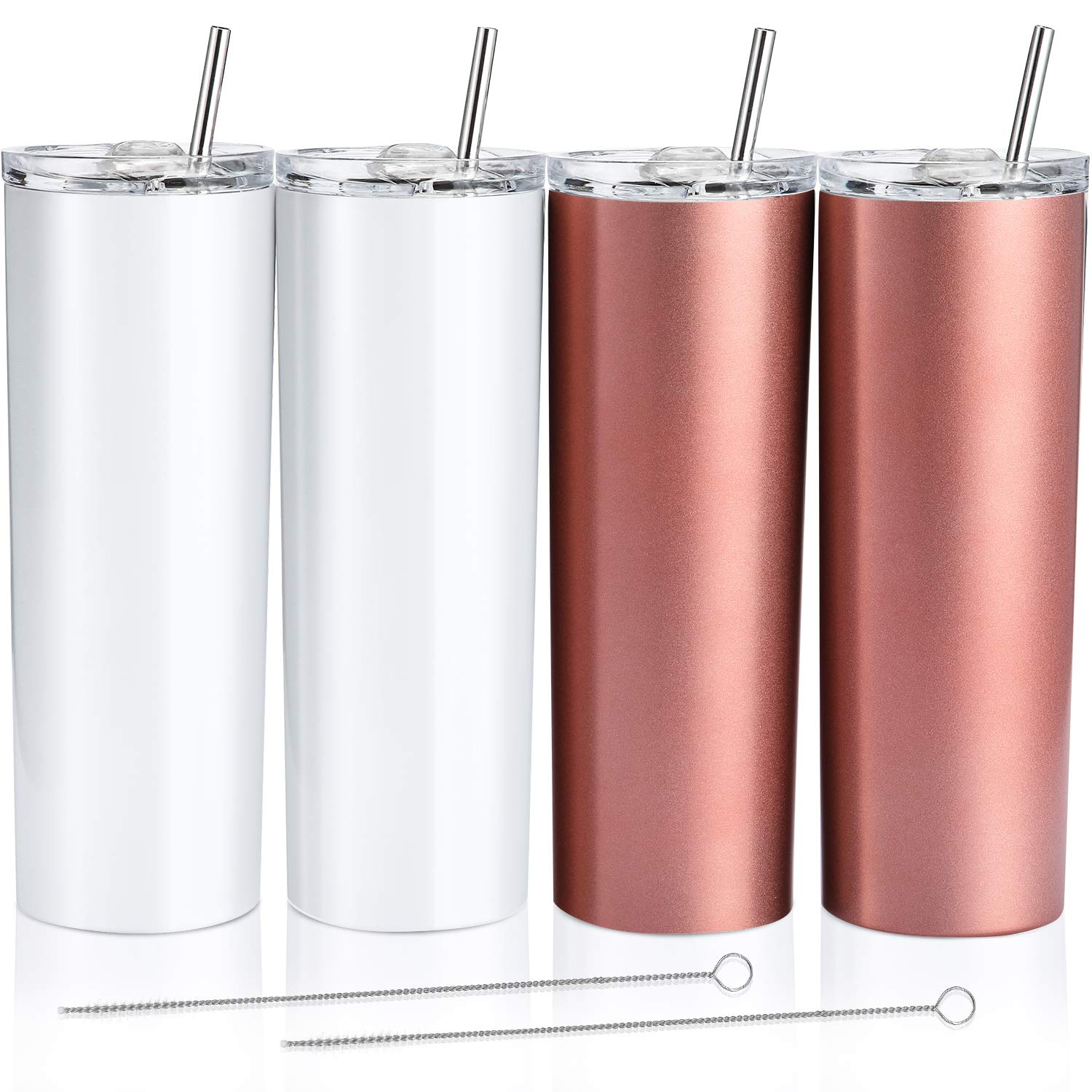 4 Pack Classic Tumbler Stainless Steel Double-Insulated Water Tumbler Cup with Lid and Straw Vacuum Travel Mug Gift with Cleaning Brush (Pearl White, Rose Gold, 20 oz)